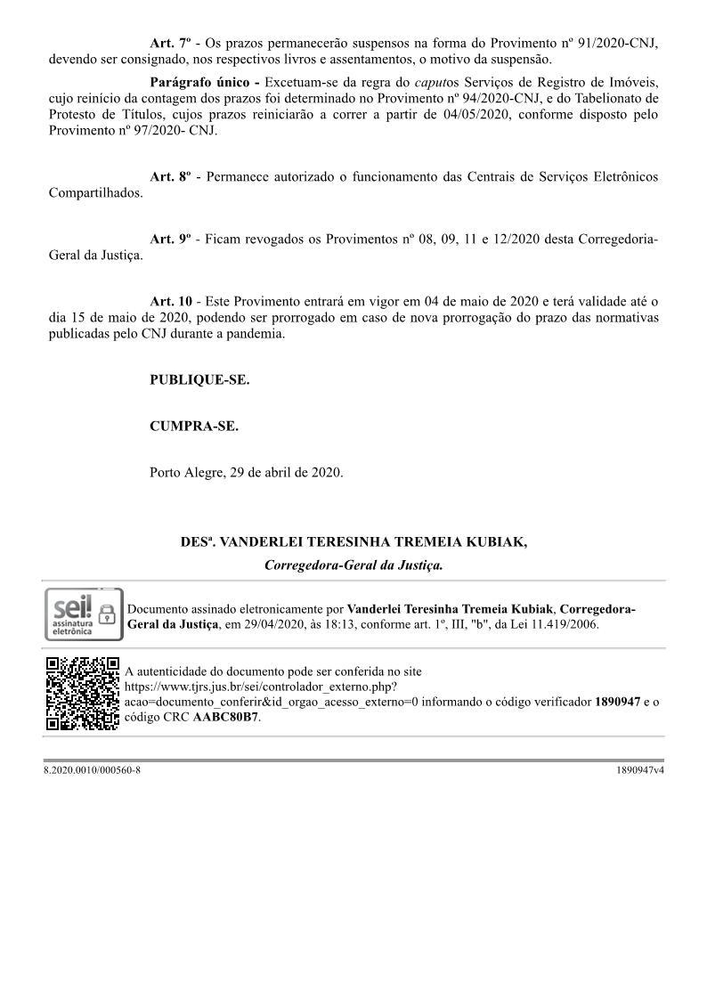 Provimento º 17/2020 CGJ/RS img3