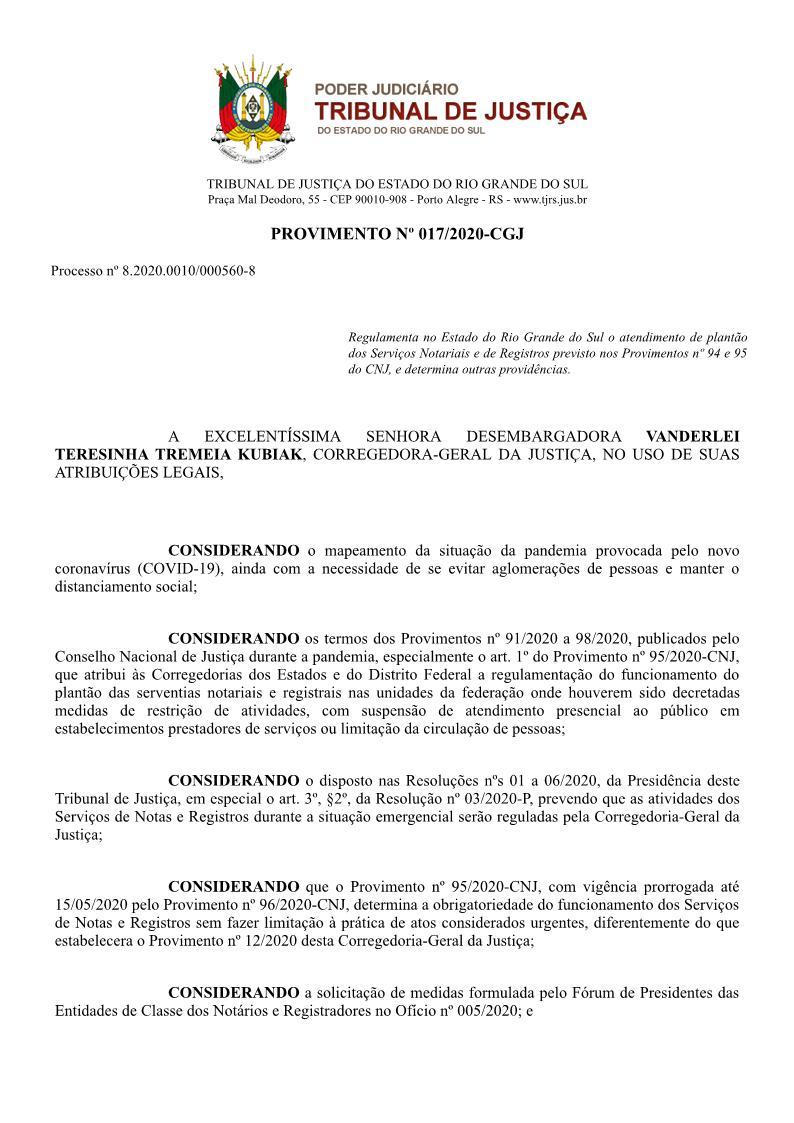 Provimento º 17/2020 CGJ/RS img1
